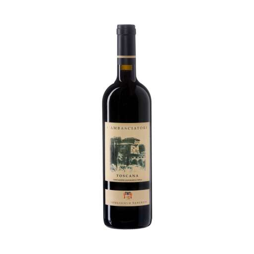 """Toscana """"L'Ambasciatore"""" IGT. Colore rosso rubino, profuma di frutti di bosco scuri, spezie balsamiche. Morbido, rotondo, persistente al palato."""