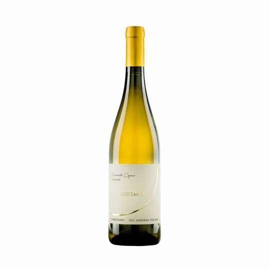 """Maremma Toscana Chardonnay """"Dolceamore"""" DOC . Giallo oro, profumi di agrumi, frutti esotici. Accompagna egregiamente i piatti di pesce. semistagionati di pecora."""