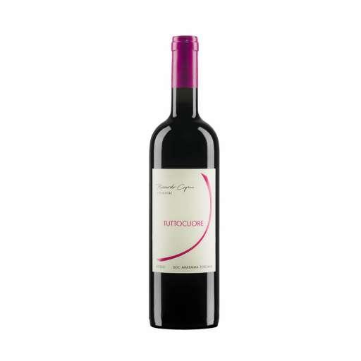 """Maremma Toscana Rosso """"Tuttocuore"""" DOC . Rosso rubino, profumi di frutti a bacca rossa. Ideale per aperitivi, carni, formaggi semistagionati."""